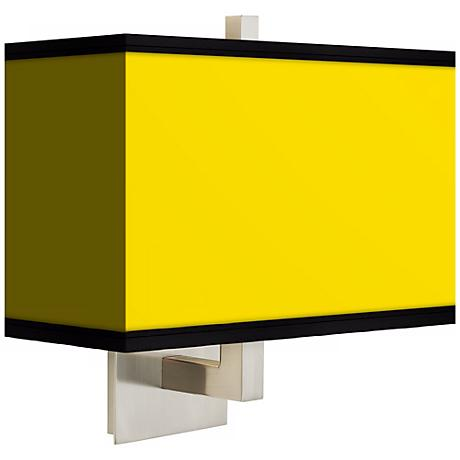 All Yellow Rectangular Giclee Shade Wall Sconce