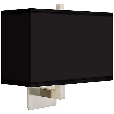 All Black Rectangular Giclee Shade Wall Sconce