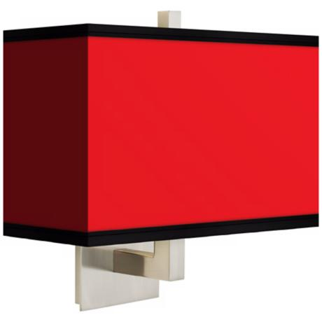 All Red Rectangular Giclee Shade Wall Sconce