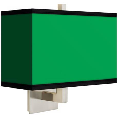 All Green Rectangular Giclee Shade Wall Sconce