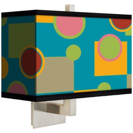 Vibrant Retro Medley Rectangular Giclee Shade Wall Sconce