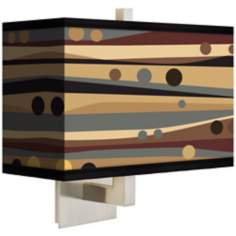 Natural Dots and Waves Rectangular Giclee Shade Wall Sconce