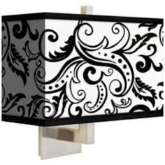 Regency Black Rectangular Giclee Shade Wall Sconce