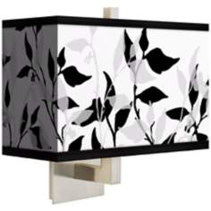 Three Tone Leaves Rectangular Giclee Shade Wall Sconce