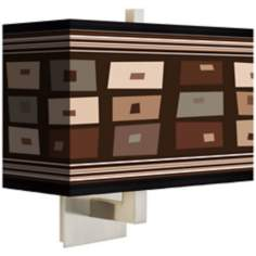 Retro Rectangles Brown Rectangular Giclee Shade Wall Sconce