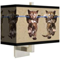 Cool Cat Rectangular Giclee Shade Wall Sconce