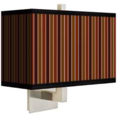 Cinnamon Stripes Rectangular Giclee Shade Wall Sconce