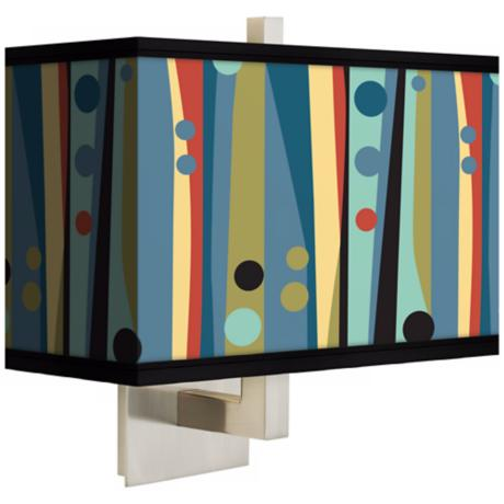 Pastel Dots Vertical Rectangular Giclee Shade Wall Sconce