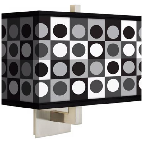 Black and Grey Dotted Squares Rectangular Shade Wall Sconce