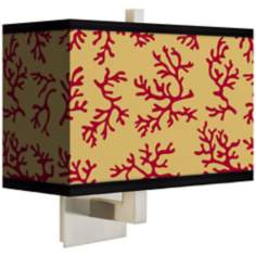 Crimson Coral Rectangular Giclee Shade Wall Sconce