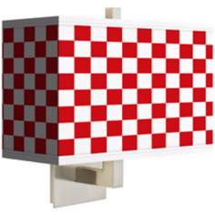 Checkered Red Rectangular Giclee Shade Wall Sconce