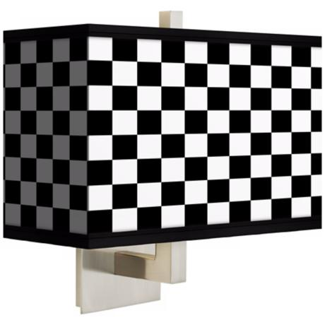 Checkered Black Rectangular Giclee Shade Wall Sconce