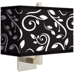 Swirling Vines Rectangular Giclee Shade Wall Sconce