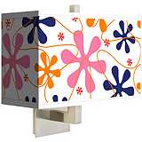 Retro Pink Rectangular Giclee Shade Wall Sconce