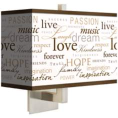 "Positivity Giclee Rectangular Shade 13 1/2"" High Wall Sconce"