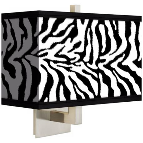 Safari Zebra Rectangular Giclee Shade Wall Sconce