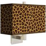 Safari Cheetah Rectangular Giclee Shade Wall Sconce
