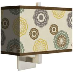"Ornaments Linen Giclee 14"" Wide Rectangular Wall Sconce"
