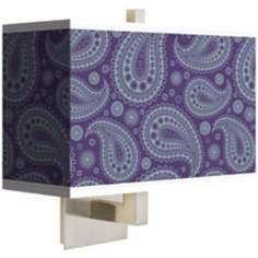 "Purple Paisley Linen 14"" Wide Rectangular Wall Sconce"