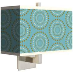 "Blue Calliope Linen Giclee 14"" Wide Rectangular Wall Sconce"