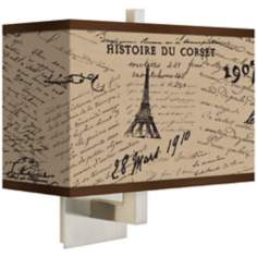 Letters to Paris Linen Giclee Rectangular Wall Sconce