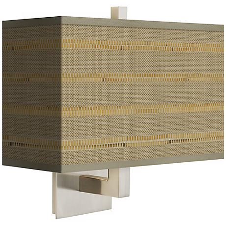 Woven Reed Rectangular Giclee Shade Wall Sconce