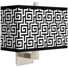 Greek Key Rectangular Giclee Shade Wall Sconce