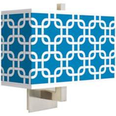 Blue Lattice Rectangular Giclee Shade Wall Sconce
