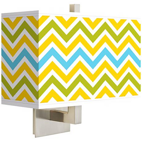 Citrus Zig Zag Rectangular Giclee Shade Wall Sconce