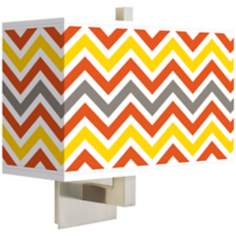 Flame Zig Zag Rectangular Giclee Shade Wall Sconce
