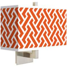 Red Brick Weave Rectangular Giclee Shade Wall Sconce