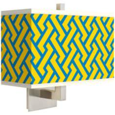 Yellow Brick Weave Rectangular Giclee Shade Wall Sconce
