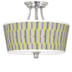 Side By Side Tapered Drum Giclee Ceiling Light