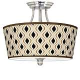 Gray Retro Lattice Tapered Drum Giclee Ceiling Light