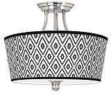 Black Diamonds Tapered Drum Giclee Ceiling Light