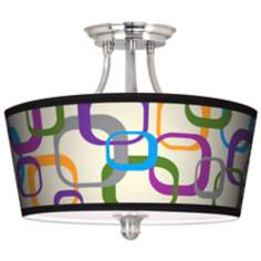 Retro Square Scramble Tapered Drum Giclee Ceiling Light