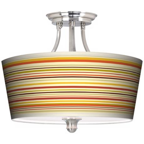 Stacy Garcia Lemongrass Stripe Tapered Drum Giclee Ceiling Light