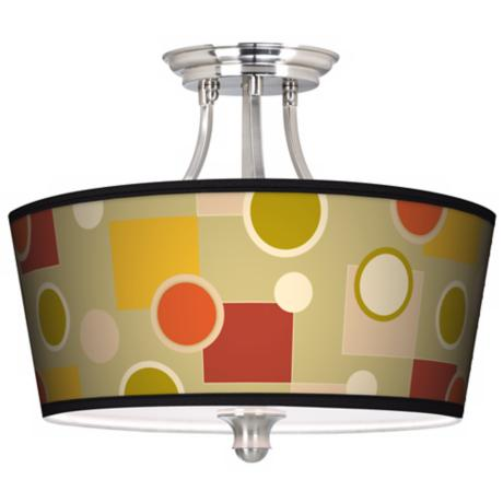 Retro Citrus Medley Tapered Drum Giclee Ceiling Light