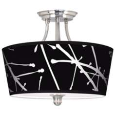 Stacy Garcia Calligraphy Tree Black Tapered Drum Ceiling Light