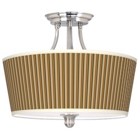 Umber Stripes Tapered Drum Giclee Ceiling Light