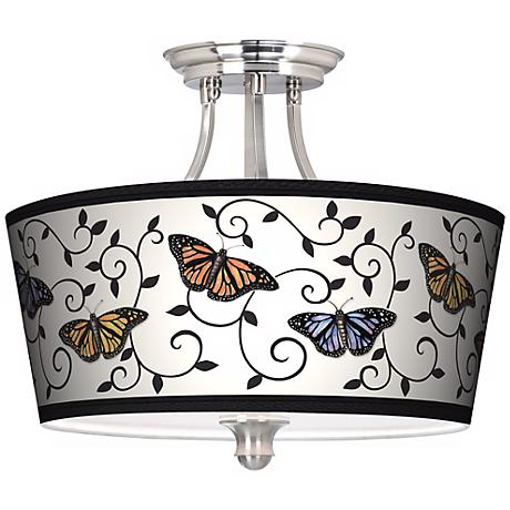 Butterfly Scroll Tapered Drum Giclee Ceiling Light