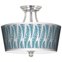 Stacy Garcia Fancy Fern Peacock Tapered Drum Giclee Ceiling Light