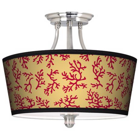 Crimson Coral Tapered Drum Giclee Ceiling Light
