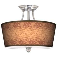 Sepia Lace Tapered Drum Giclee Ceiling Light