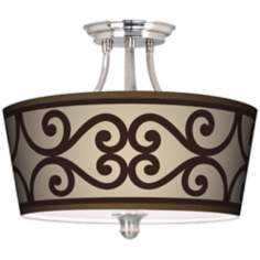 Cambria Scroll Tapered Drum Giclee Ceiling Light