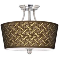 Tan Wailia Tapered Drum Giclee Ceiling Light
