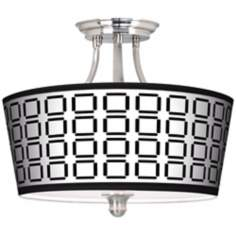 Open Grid Tapered Drum Giclee Ceiling Light