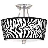 Safari Zebra Tapered Drum Giclee Ceiling Light