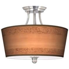 "Paisley Trim Tapered Drum Shade 18"" Wide Ceiling Light"
