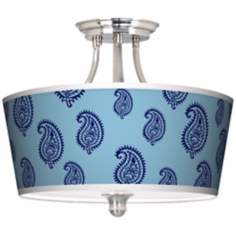 Paisley Rain Tapered Drum Giclee Ceiling Light